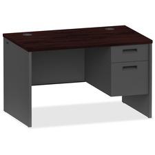 LLR97115 - Lorell Mahogany/Charcoal Pedestal Desk