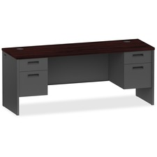 LLR 97117 Lorell Mahogany/Charcoal Modular Desk Furniture LLR97117