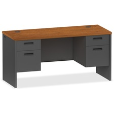 LLR 97118 Lorell Cherry/Charcoal Modular Desk Furniture LLR97118