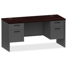 LLR 97119 Lorell Mahogany/Charcoal Modular Desk Furniture LLR97119