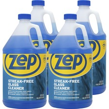 Zep Streak-free Glass Cleaner - Liquid - 128 fl oz (4 quart) - 4 / Carton - Blue