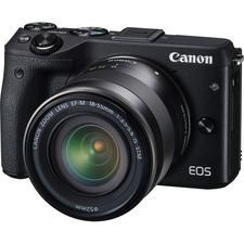 Canon EOS M3 24.2 Megapixel Mirrorless Camera with Lens - 18 mm - 55 mm (Lens 1), 55 mm - 200 mm (Lens 2) - Black