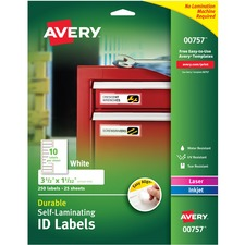 AVE00757 - Avery® Easy Align Durable Self-Laminating ID Labels