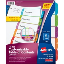 AVE 11840 Avery Customizable Table Of Cont Divider Tab Set AVE11840