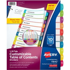 AVE11842 - Avery&reg Ready Index Customizable Table of Contents Contemporary Multicolor Dividers