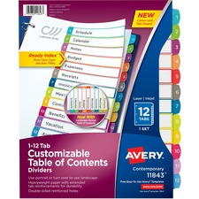 AVE11843 - Avery&reg Ready Index Customizable Table of Contents Contemporary Multicolor Dividers