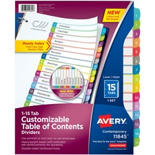 AVE11845 - Avery&reg Ready Index Customizable Table of Contents Contemporary Multicolor Dividers