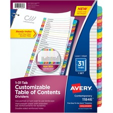 AVE11846 - Avery&reg Ready Index Customizable Table of Contents Contemporary Multicolor Dividers