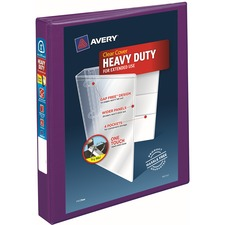 """Avery® Heavy-Duty View Binders - Locking One Touch EZD Rings - 1"""" Binder Capacity - Letter - 8 1/2"""" x 11"""" Sheet Size - Ring Fastener(s) - 4 Internal Pocket(s) - Poly - Purple - Recycled - Cover, Spine, Divider, One Touch Ring, Gap-free Ring, Non-stick, Heavy Duty, Pocket, Locking Ring"""