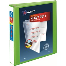 """Avery® Heavy-Duty View Binders - Locking One Touch EZD Rings - 1 1/2"""" Binder Capacity - Letter - 8 1/2"""" x 11"""" Sheet Size - Ring Fastener(s) - 4 Internal Pocket(s) - Poly - Chartreuse - Recycled - Cover, Spine, Divider, One Touch Ring, Gap-free Ring, Non-stick, Heavy Duty, Pocket, Locking Ring"""