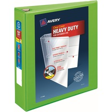 """Avery® Heavy-Duty View Binders - Locking One Touch EZD Rings - 2"""" Binder Capacity - Letter - 8 1/2"""" x 11"""" Sheet Size - Ring Fastener(s) - 4 Internal Pocket(s) - Poly - Chartreuse - Recycled - Cover, Spine, Divider, One Touch Ring, Gap-free Ring, Non-stick, Heavy Duty, Pocket, Locking Ring"""