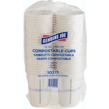 Genuine Joe Eco-friendly Paper Cups - 354.88 mL - 50 / Pack - White - Paper
