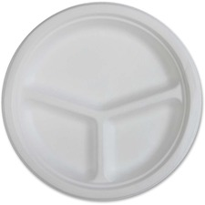 GJO 10219 Genuine Joe 3-compartment Disposable Plates GJO10219