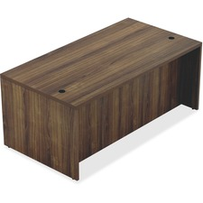 "Lorell Chateau Series Walnut Laminate Desking - 70.9"" x 35.4"" x 30""Desk, 1.5"" Top - Reeded Edge - Material: P2 Particleboard - Finish: Walnut, Laminate"