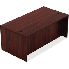 "Lorell Chateau Series Mahogany Laminate Desking Table Desk - 59"" x 29.5"" x 30""Table, 1.5"" Table Top - Reeded Edge - Material: P2 Particleboard - Finish: Mahogany Laminate"