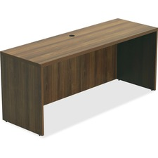 "Lorell Chateau Series Walnut Laminate Desking Credenza - 66.1"" x 23.6"" x 30""Credenza, 1.5"" Top - Reeded Edge - Material: P2 Particleboard - Finish: Walnut, Laminate"