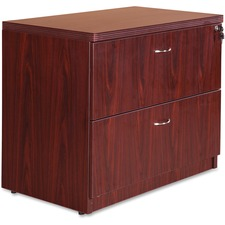 "Lorell Chateau Series Mahogany Laminate Desking - 2-Drawer - 35.5"" x 22"" x 30""Lateral File, 1.5"" Top - 2 - Reeded Edge - Material: P2 Particleboard - Finish: Mahogany, Laminate"