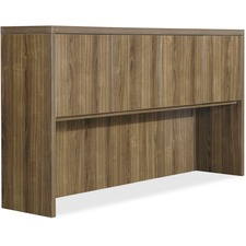 "Lorell Chateau Series Walnut Laminate Desking - 66.1"" x 14.8"" x 36.5""Hutch, 1.5"" Top - Drawer(s)4 Door(s) - Reeded Edge - Material: P2 Particleboard - Finish: Walnut, Laminate"