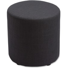 "Lorell Fabric Cylinder Ottoman - Plywood16.75"" (425.45 mm)18"" (457.20 mm) - Fabric Black Seat"