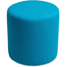"Lorell Fabric Cylinder Ottoman - Plywood16.75"" (425.45 mm)18"" (457.20 mm) - Fabric Cyan Seat"