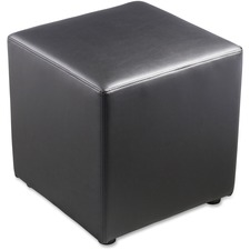 "Lorell Leather Cube Ottoman - Plywood18"" (457.20 mm) x 18"" (457.20 mm) x 18"" (457.20 mm) - Leather - 1 Each"