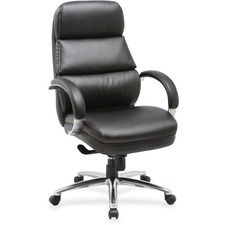 LLR 59534 Lorell Black Leather High-back Chair LLR59534
