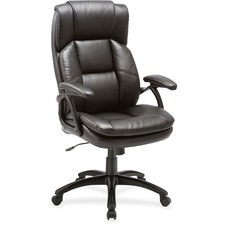 LLR59535 - Lorell Black Base High-back Leather Chair