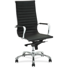 "Lorell Modern Chair Series High-back Leather Chair - Leather Seat - Leather Back - 5-star Base - Black - 20"" Seat Width x 18.8"" Seat Depth - 25"" Width x 24.8"" Depth x 47"" Height - 1 Each"