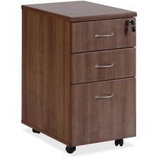 LLR69983 - Lorell Essentials Walnut Freestanding Mobile Pedestal
