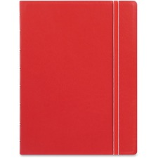 """Filofax A5 Size Notebook - A5 - 56 Sheets - Twin Wirebound - 0.24"""" Ruled - 5 53/64"""" x 8 17/64"""" - 8.50"""" (215.90 mm) x 6.43"""" (163.32 mm) - Off White Paper - Red Cover - Leatherette Cover - Elastic Closure, Indexed, Pocket, Ruler, Refillable, Soft Cover, Divider, Tab, Page Marker, Ribbon Marker - Recycled - 1Each"""