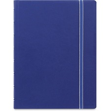 """Rediform A5 Size Filofax Notebook - A5 - 56 Sheets - Twin Wirebound - 0.24"""" Ruled - 8 1/4"""" x 5 13/16"""" - 8.50"""" (215.90 mm) x 6.44"""" (163.58 mm) - Off White Paper - Blue Cover - Leatherette Cover - Elastic Closure, Indexed, Pocket, Ruler, Refillable, Soft Cover, Divider, Tab, Page Marker, Ribbon Marker - Recycled - 1Each"""