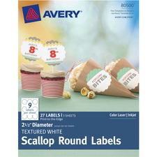 AVE 80500 Avery Textured Scallop Round Labels  AVE80500