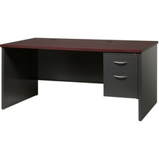 LLR79145 - Lorell Walnut Laminate Commercial Steel Desk Series