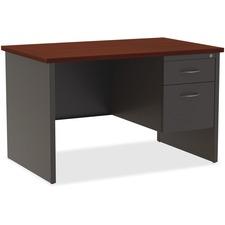 LLR79148 - Lorell Mahogany Laminate/Charcoal Modular Desk Series Pedestal Desk