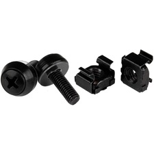 StarTech.com M5 x 12mm - Screws and Cage Nuts - 100 Pack, Black - M5 Mounting Screws & Cage Nuts for Server Rack & Cabinet
