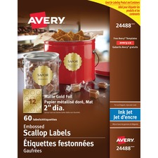 "Avery® Embossed Scallop Labels - 2"" Diameter - Round Scallop - Inkjet - Gold - 12 / Sheet - 60 / Pack"