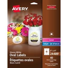"Avery® Glossy White Oval Labels - 4"" x 3"" Length - Oval - Inkjet, Laser - White - 4 / Sheet - 40 / Pack"