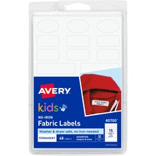 Avery® No-Iron Clothing Labels, Assorted Shapes & Sizes, 45 Labels (40700) - Permanent Adhesive - Assorted - White - Film - 15 / Sheet - 3 Total Sheets - 45 Total Label(s) - 3