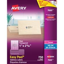 "Avery® Easy Peel Address Labels - 2 5/8"" x 1"" Length - Rectangle - Laser, Inkjet - Clear - 30 / Sheet - 750 / Pack"