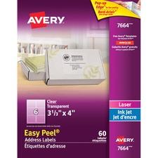"Avery® Easy Peel Address Labels - 4"" x 3 21/64"" Length - Rectangle - Laser, Inkjet - Clear - 6 / Sheet - 60 / Pack"