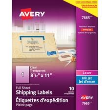 "Avery® Full Sheet Shipping Labels - 8 1/2"" x 11"" Length - Rectangle - Laser, Inkjet - Clear - 10 / Pack"