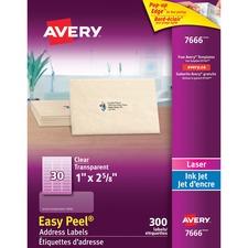"Avery® Easy Peel Address Labels - 2 5/8"" x 1"" Length - Rectangle - Laser, Inkjet - Clear - 30 / Sheet - 300 / Pack"