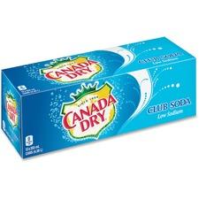 Canada Dry Club Soda - Ready-to-Drink - 355 mL - Can - 12 / Box