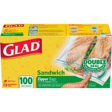"Glad Sandwich Zipper Bags - 5.88"" (149.23 mm) Width x 6.63"" (168.28 mm) Length - Clear - 100/Box - Sandwich"