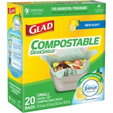"Glad Compostable Bags - Small Size - 9.80 L - 16.30"" (414.02 mm) Width x 16.50"" (419.10 mm) Length - Translucent - 20/Box - Garbage, Kitchen, Breakroom, Office, School, Restaurant, Bathroom, Bedroom"