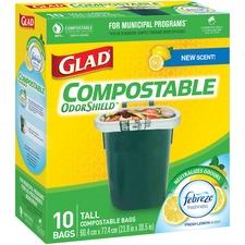"Glad Compostable Bags - Large Size - 42.50 L - 23.80"" (604.52 mm) Width x 30.50"" (774.70 mm) Length - Translucent - 10/Box - Kitchen, School, Office, Breakroom, Restaurant, Garbage, Bathroom, Bedroom"