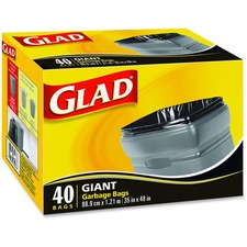 "Glad Giant Garbage Bags - 178 L - 35"" (889 mm) Width x 48"" (1219.20 mm) Length - Black - 40/Box - Garbage, Breakroom, Office, School, Restaurant"