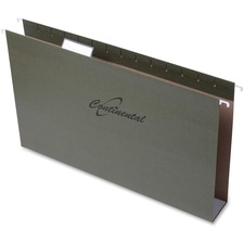 "Continental Extra-capacity Standard Green Hanging Folders - 2"" Folder Capacity - Legal - 8 1/2"" x 14"" Sheet Size - Standard Green - 25 / Box"