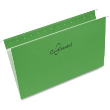 "Continental Legal Recycled Hanging Folder - 8 1/2"" x 14"" - Green - 60% - 25 / Box"
