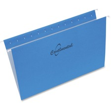"""Continental Legal Recycled Hanging Folder - 8 1/2"""" x 14"""" - Blue - 60% - 25 / Box"""